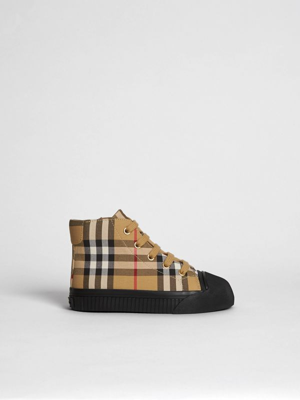 Vintage Check and Leather High-top Sneakers in Antique Yellow/black | Burberry Hong Kong S.A.R - cell image 3