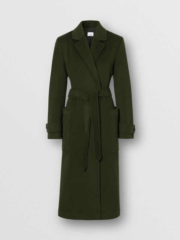 Cashmere Wrap Coat in Forest Green - Women | Burberry - cell image 3