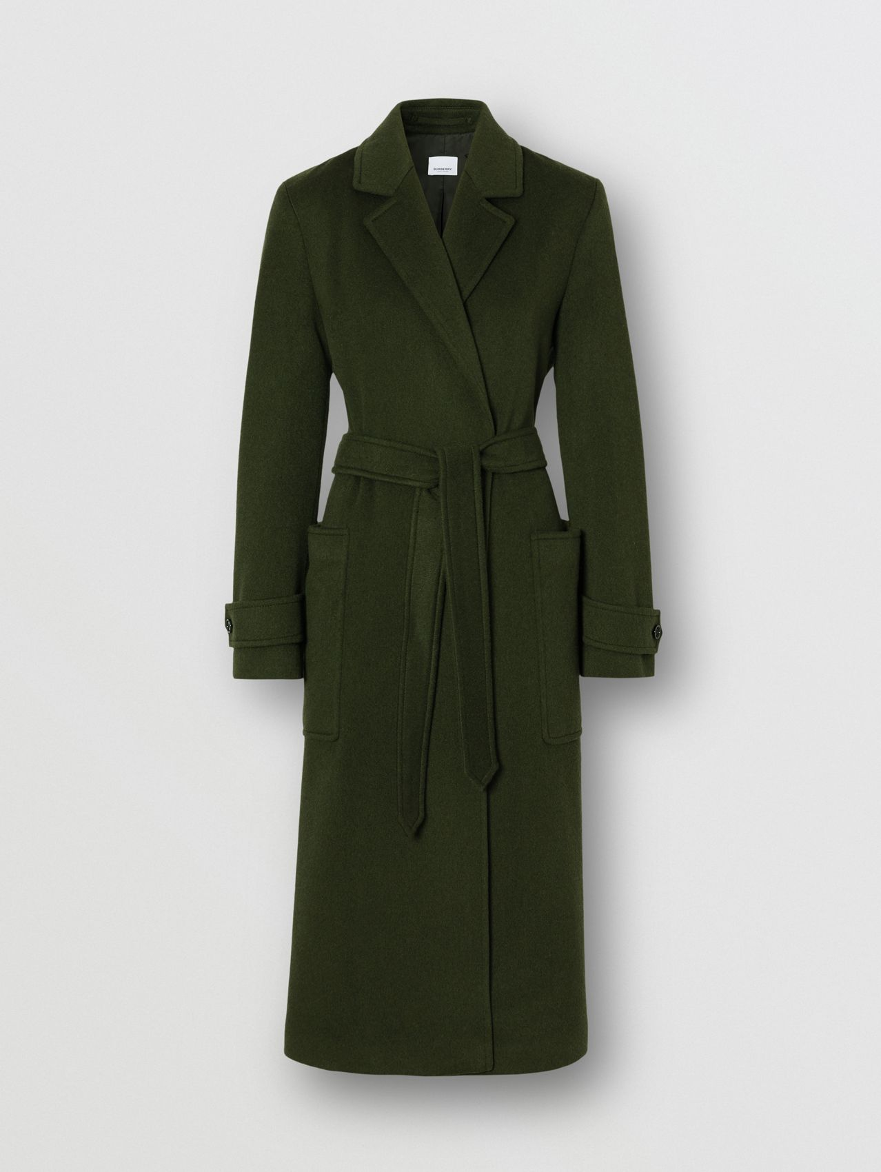 Cashmere Wrap Coat in Forest Green
