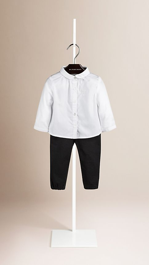 White Check Detail Cotton Shirt - Image 1
