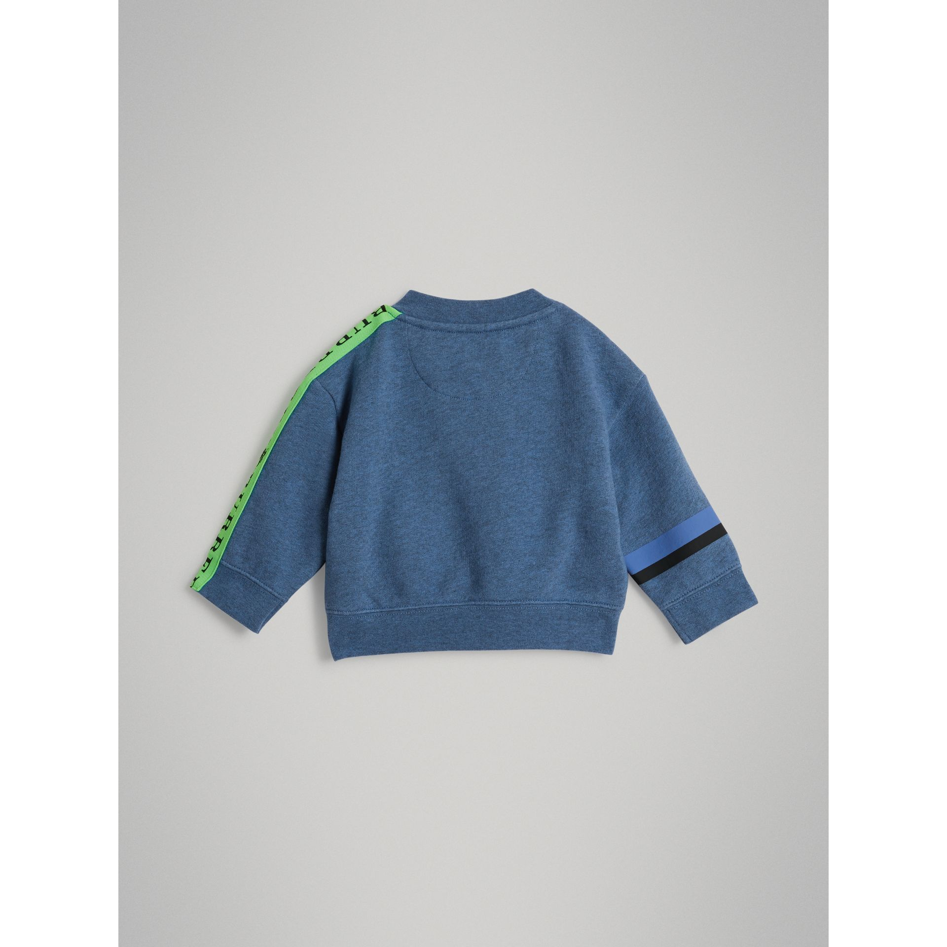 Sticker Print Cotton Sweatshirt in Blue Melange - Children | Burberry - gallery image 3