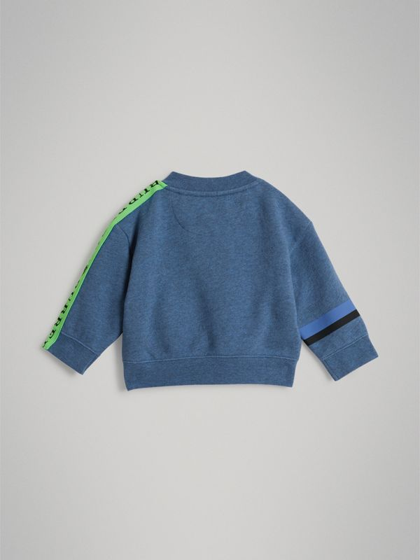 Sticker Print Cotton Sweatshirt in Blue Melange - Children | Burberry - cell image 3