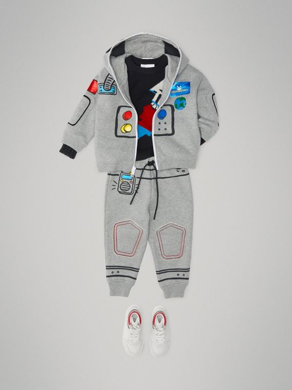Astronaut Print Jersey Trackpants in Grey Melange