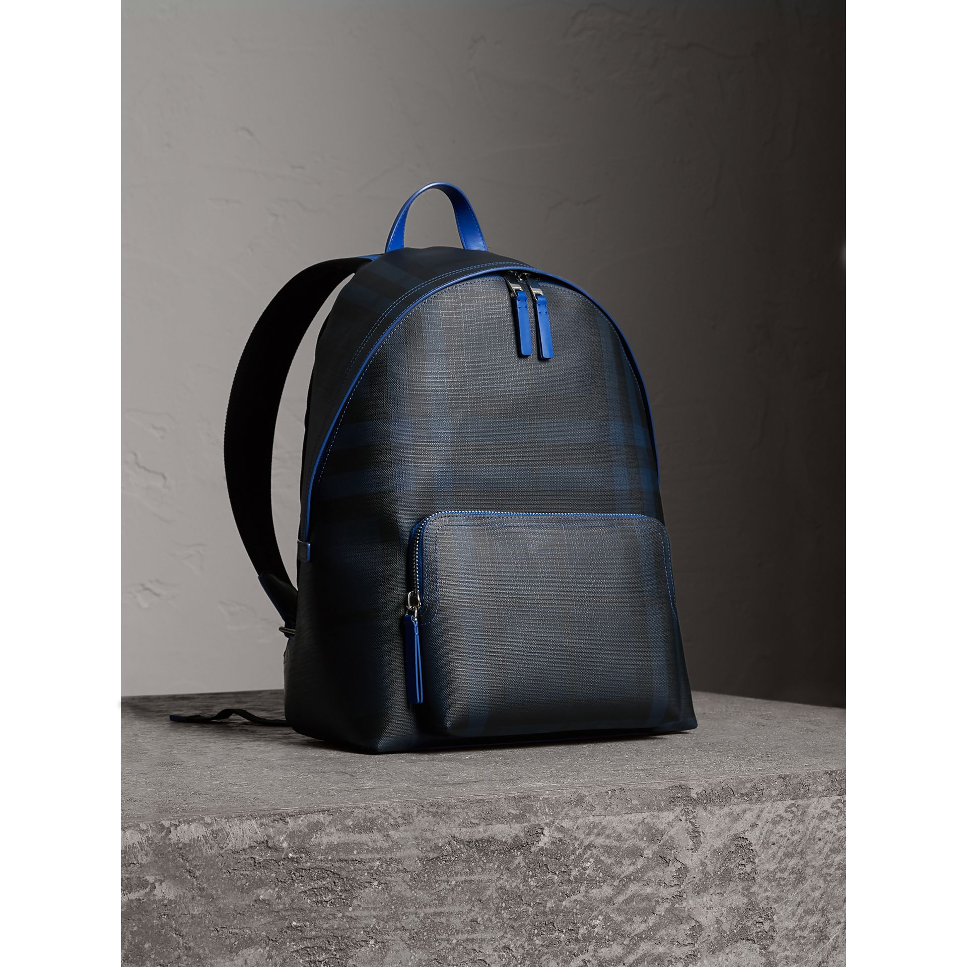 Leather Trim London Check Backpack in Navy/blue - Men | Burberry Australia - gallery image 0