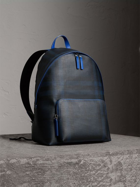 Leather Trim London Check Backpack in Navy/blue