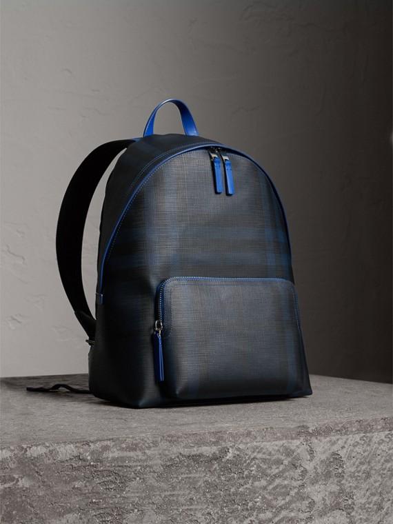 皮製飾邊 London 格紋後背包 (海軍藍/藍色)