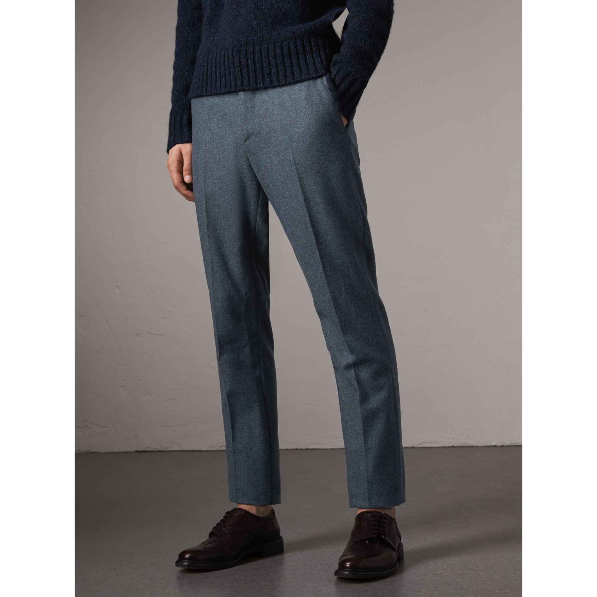 Soho Fit Wool Trousers in Dark Airforce Blue - Men | Burberry Australia - gallery image 5