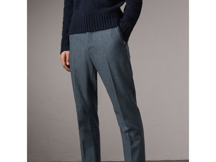 Soho Fit Wool Trousers in Dark Airforce Blue - Men | Burberry Australia - cell image 4