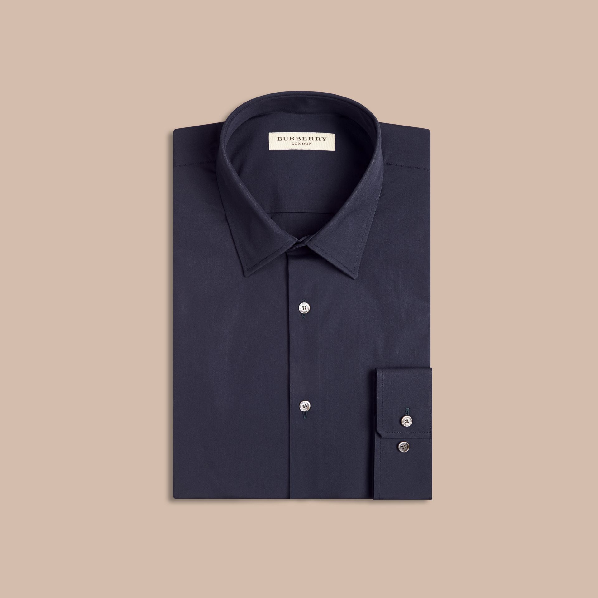 Modern Fit Stretch Cotton Shirt in Navy - Men | Burberry - gallery image 4