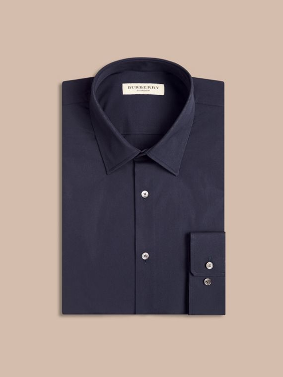 Modern Fit Stretch Cotton Shirt in Navy - Men | Burberry - cell image 3