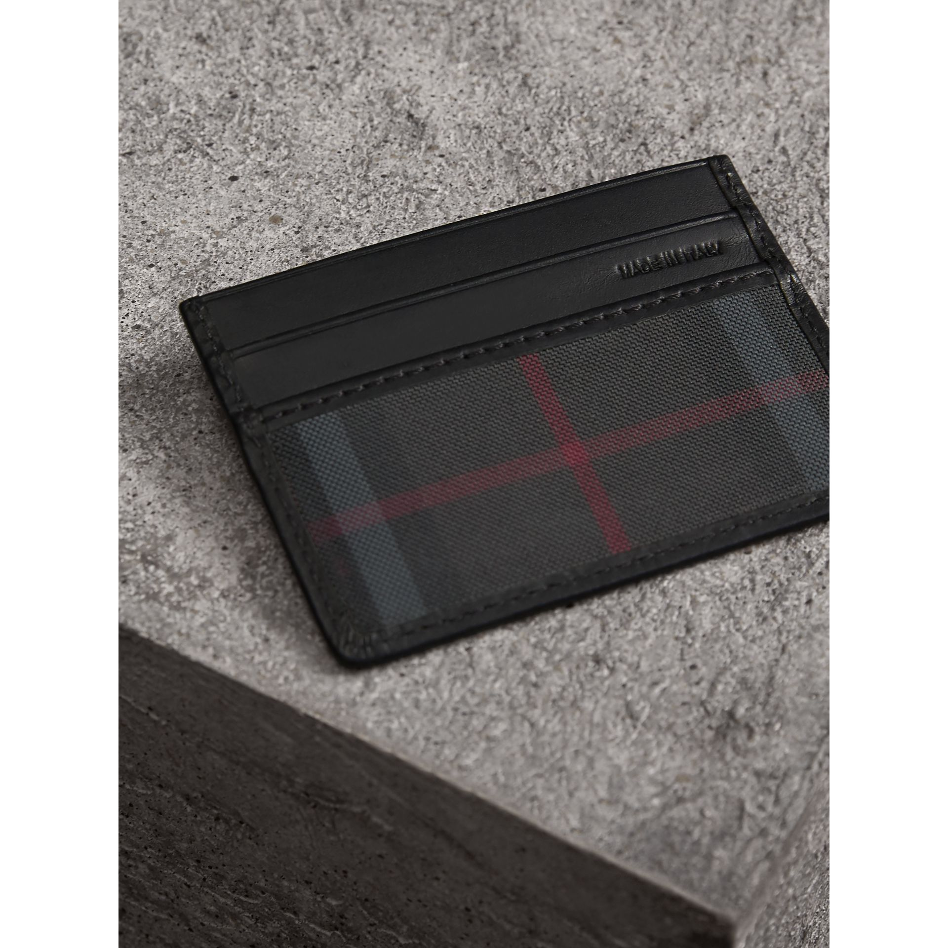 Horseferry Check Card Case in Charcoal/black - Men | Burberry - gallery image 3
