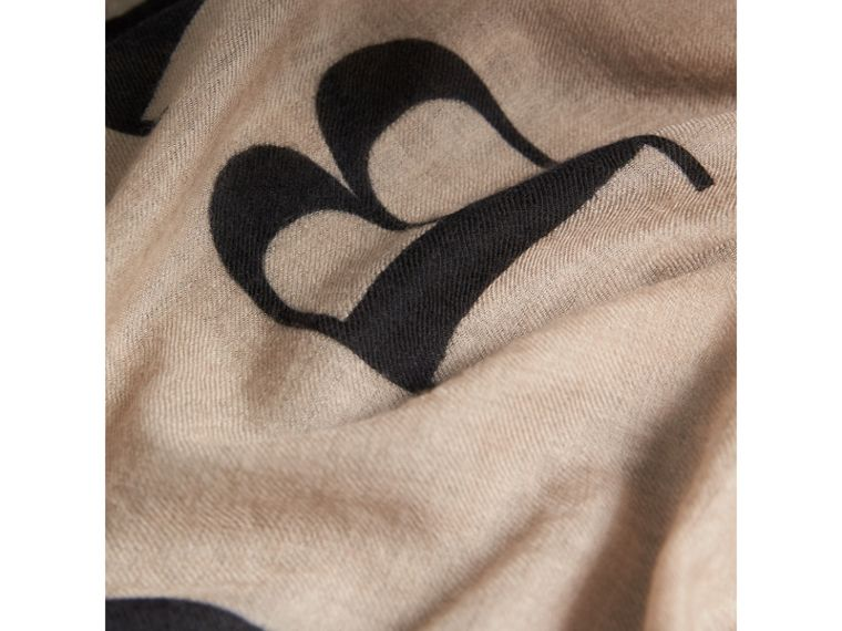 Graphic Print Motif  Lightweight Cashmere Scarf in Camel | Burberry - cell image 1