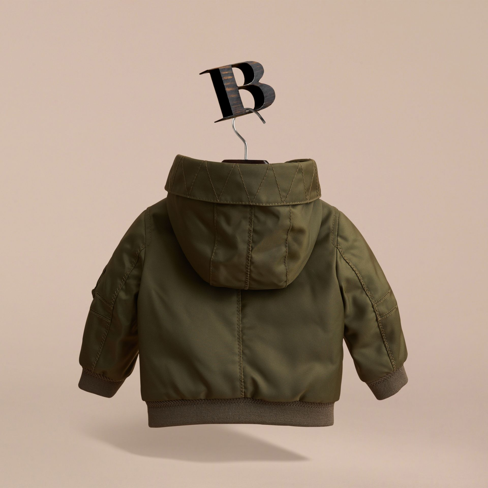 Hooded Technical Twill Bomber Jacket in Caper Green | Burberry - gallery image 4