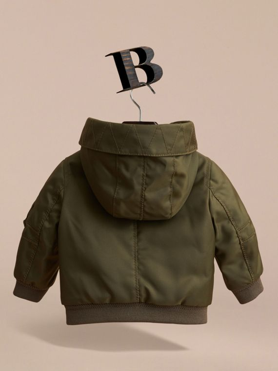 Hooded Technical Twill Bomber Jacket in Caper Green | Burberry - cell image 3