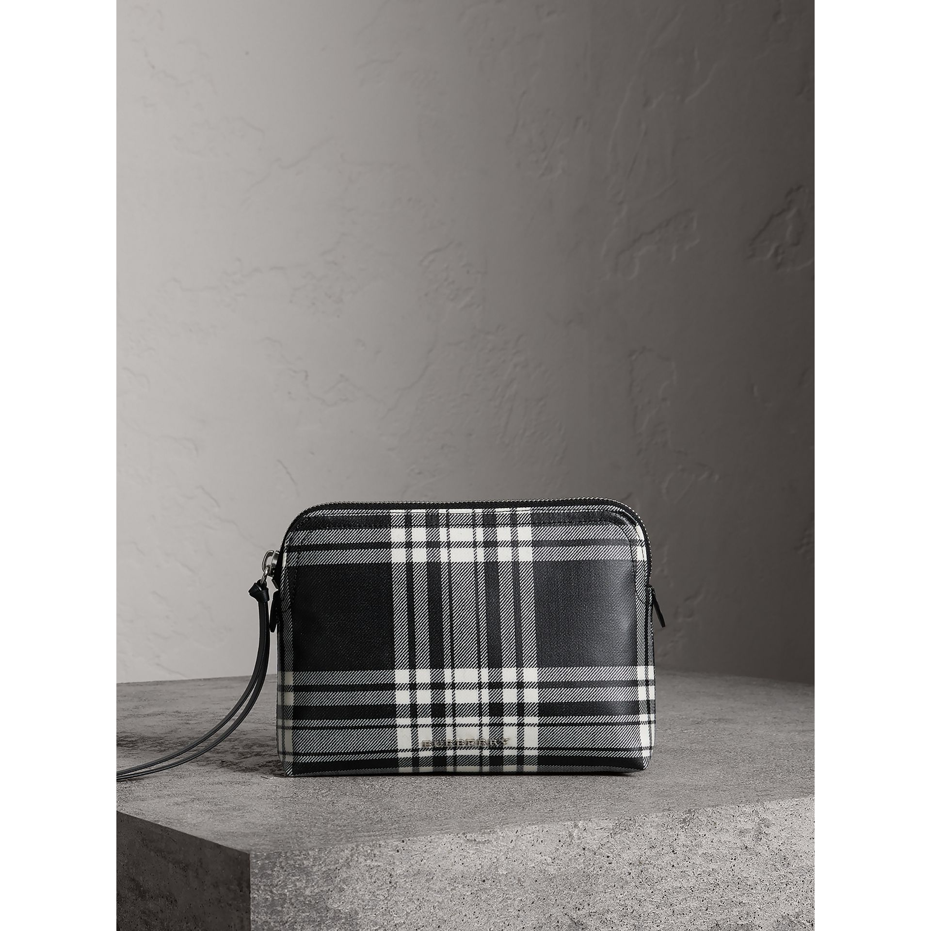 Large Laminated Tartan and Check Wool Blend Pouch in Black/white - Women | Burberry - gallery image 0