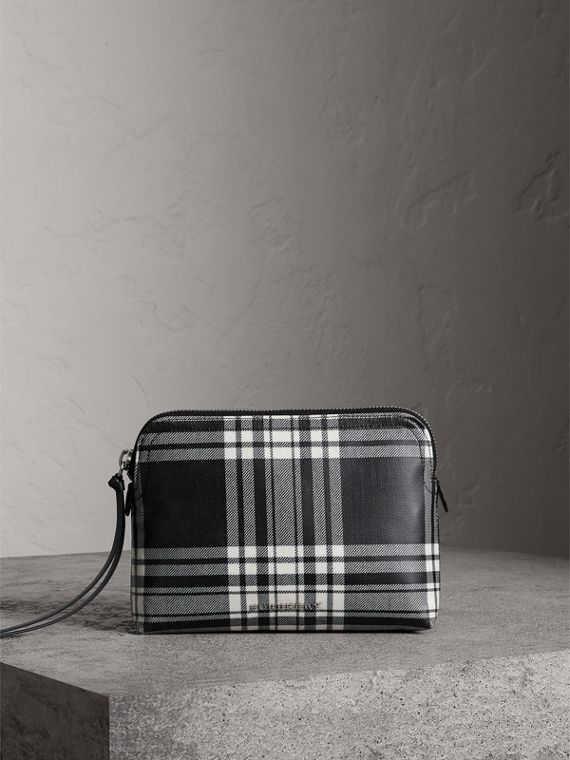 Large Laminated Tartan and Check Wool Blend Pouch in Black/white