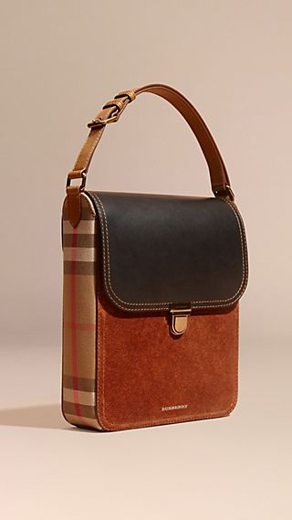 The Medium Satchel aus Leder und House Check-Gewebe