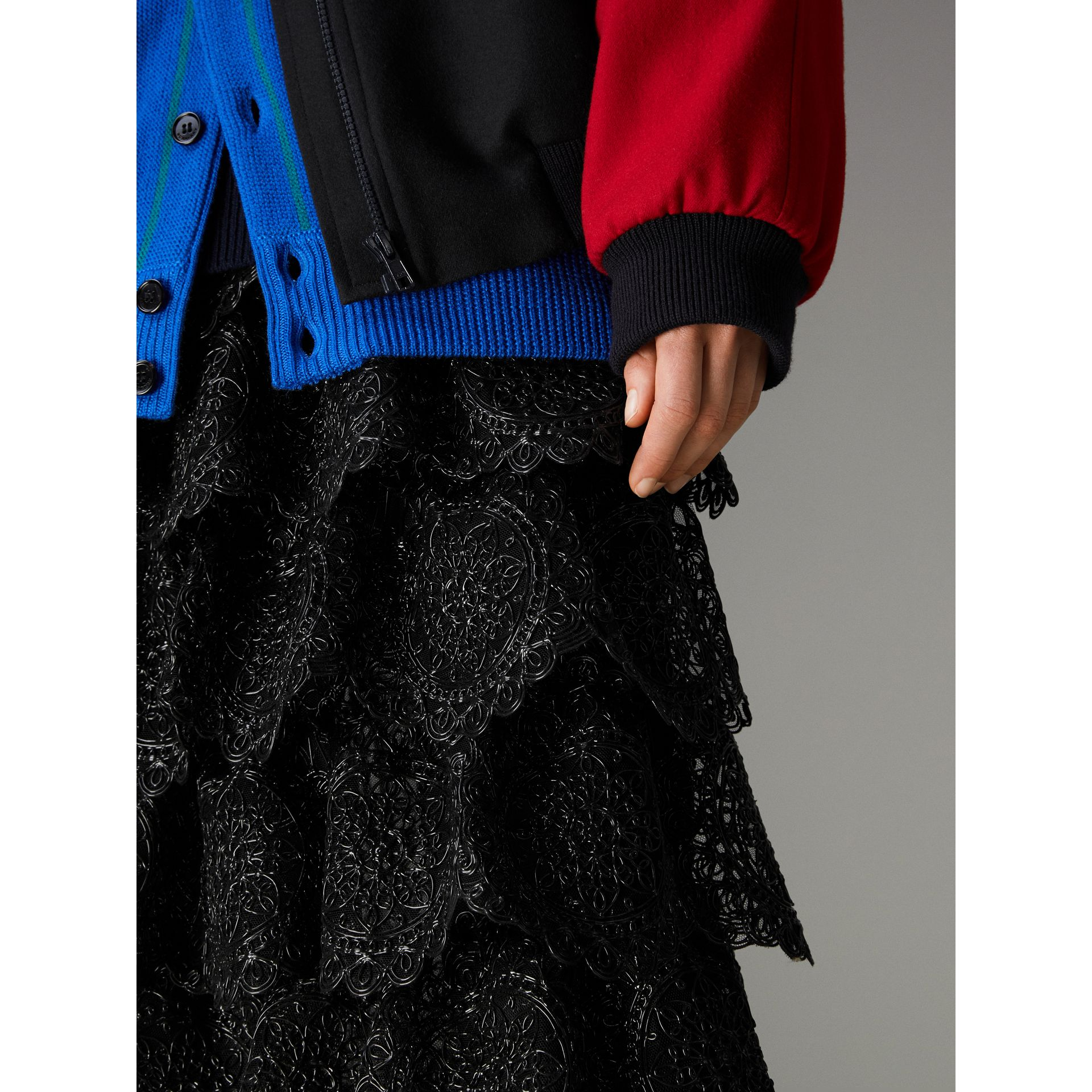 Tiered Silicone Lace Skirt in Black - Women | Burberry - gallery image 1
