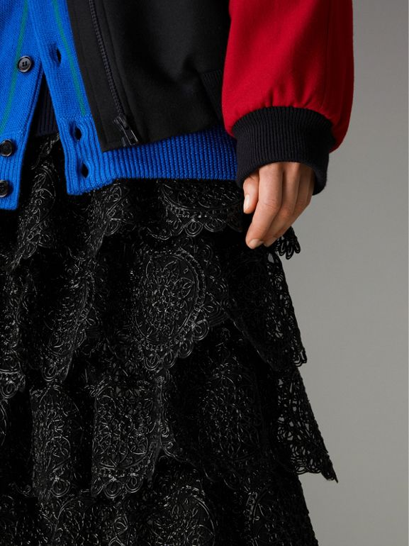 Tiered Silicone Lace Skirt in Black - Women | Burberry - cell image 1