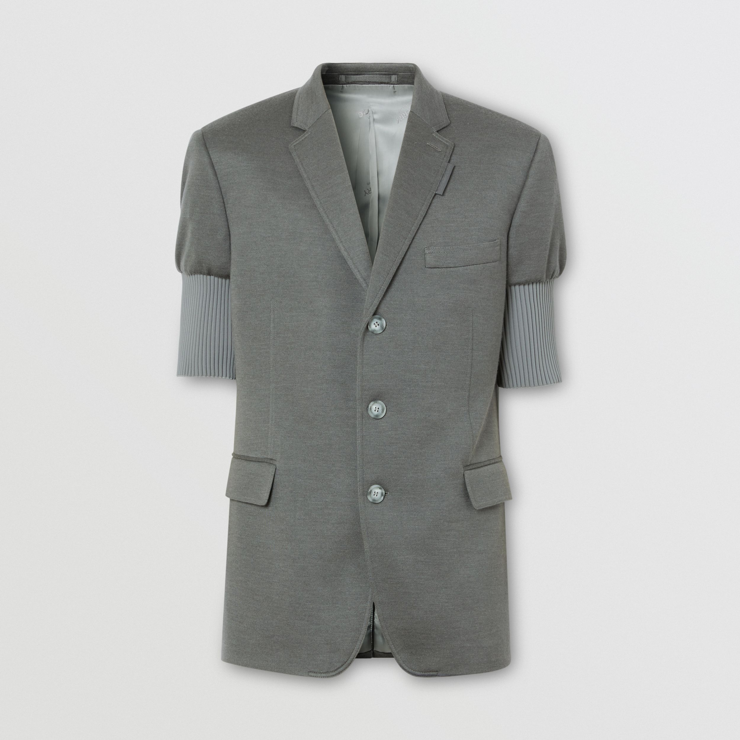 Slim Fit Panelled-sleeve Cashmere Silk Jersey Blazer in Cloud Grey - Men | Burberry - 4