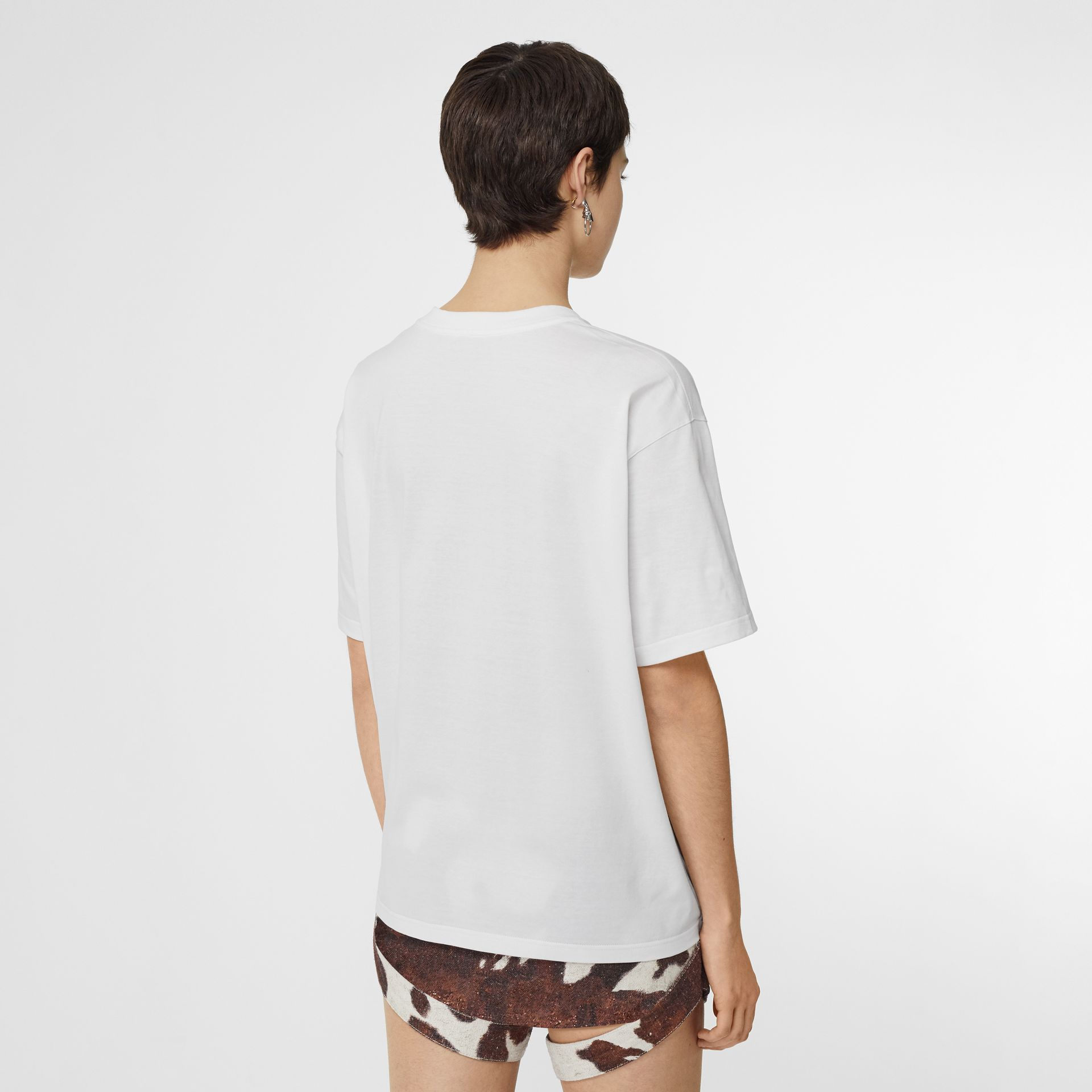 Montage Print Cotton Oversized T-shirt in White - Women | Burberry United Kingdom - gallery image 2