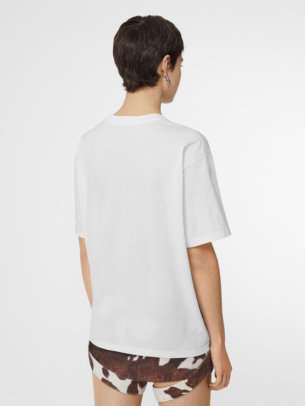 Montage Print Cotton Oversized T-shirt in White - Women | Burberry Australia - cell image 2
