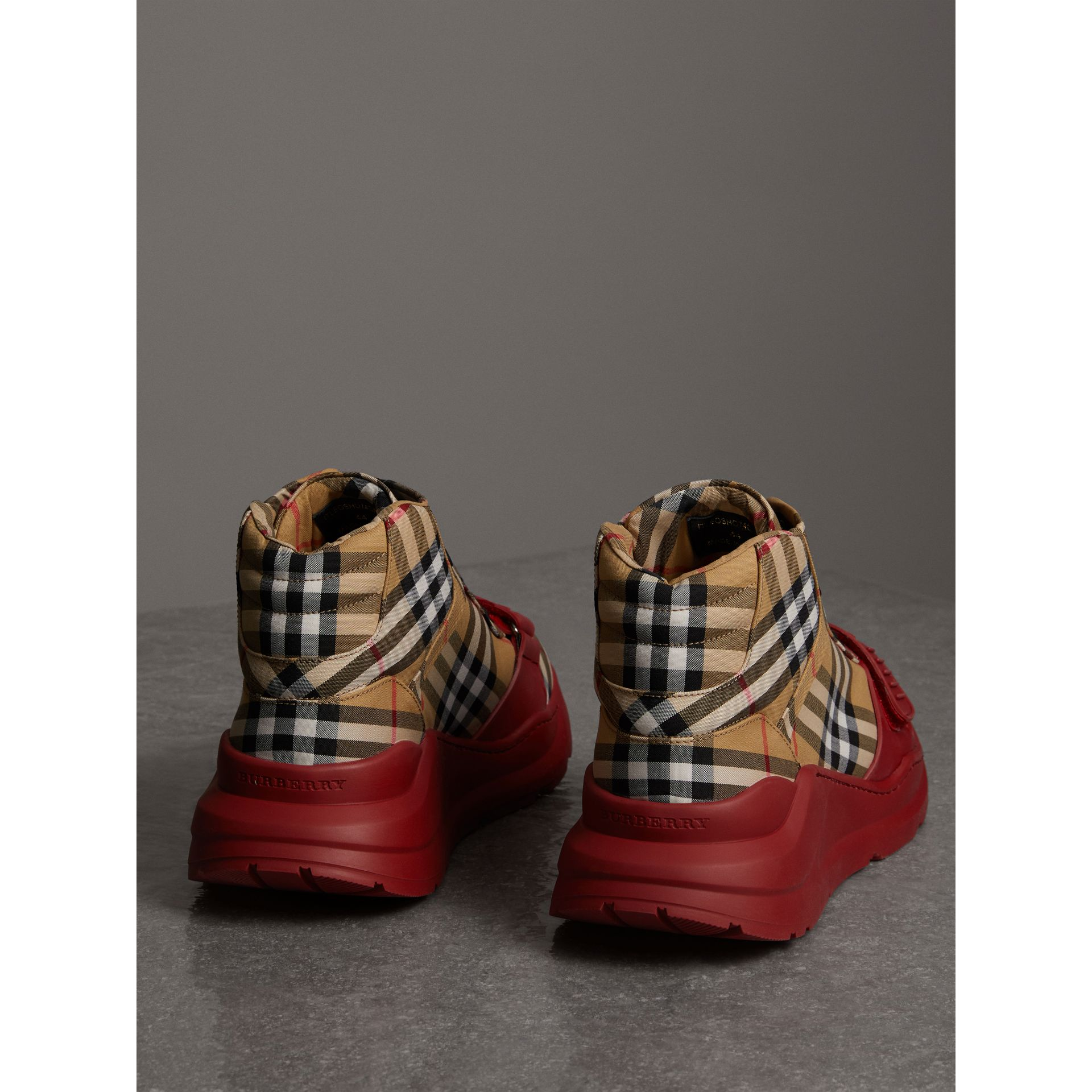 Vintage Check High-top Sneakers in Antique Yellow/military Red | Burberry Australia - gallery image 3