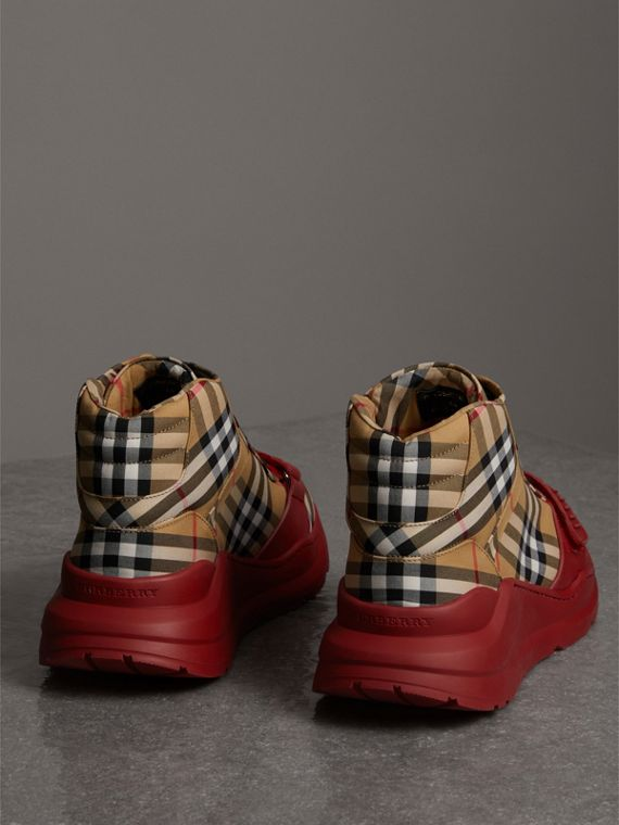 Vintage Check High-top Sneakers in Antique Yellow/military Red | Burberry Australia - cell image 3