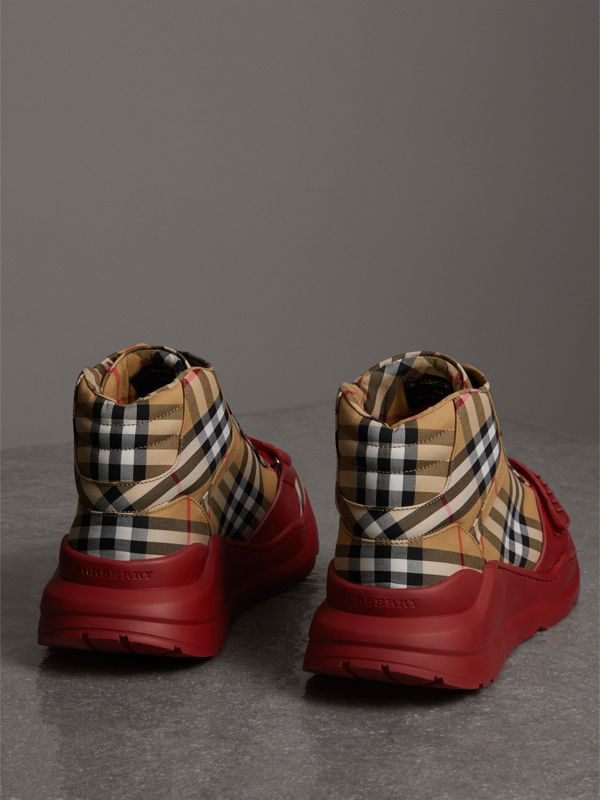 Vintage Check High-top Sneakers in Antique Yellow/military Red | Burberry United Kingdom - cell image 3