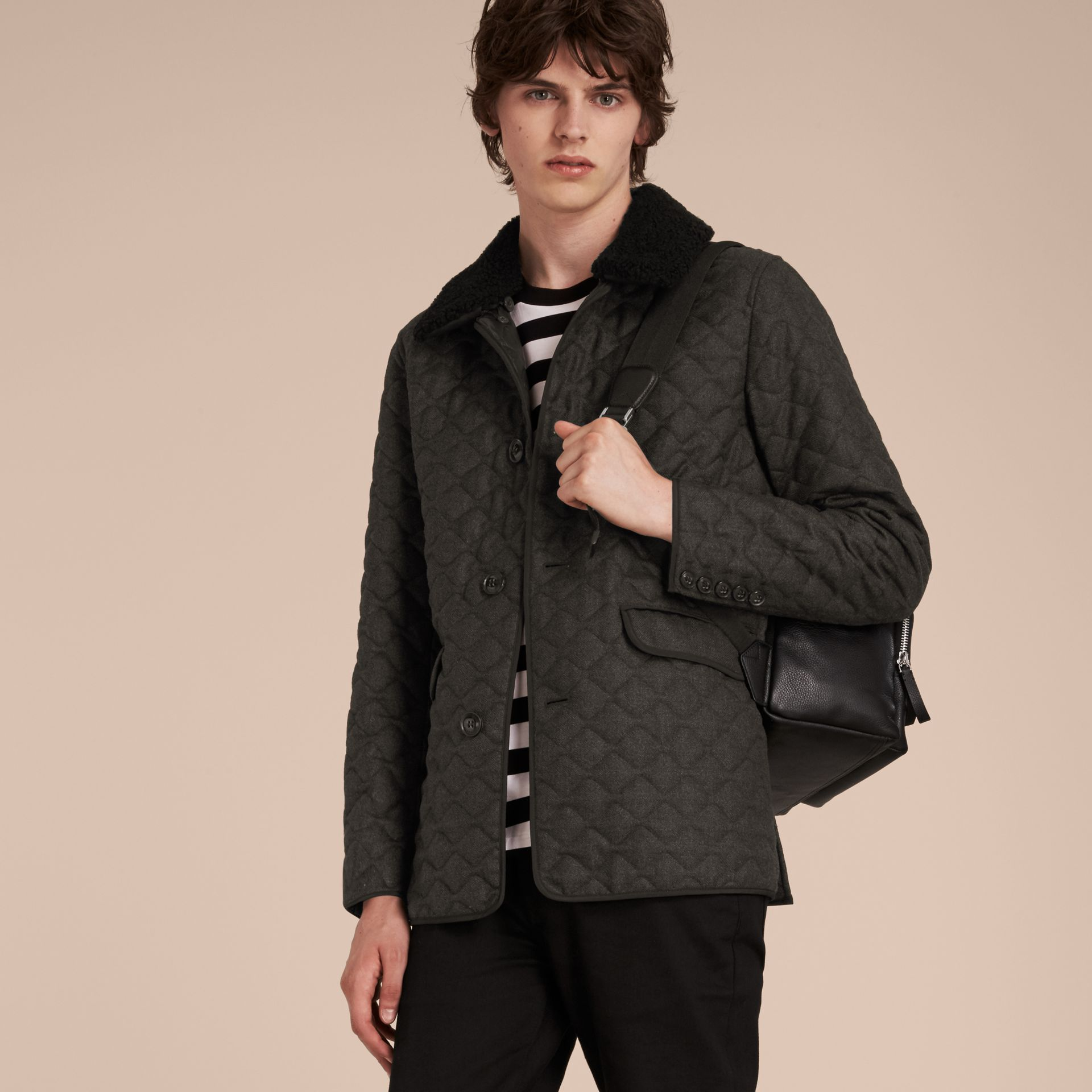 Dark grey melange Quilted Wool Flannel Jacket with Detachable Shearling Collar - gallery image 6
