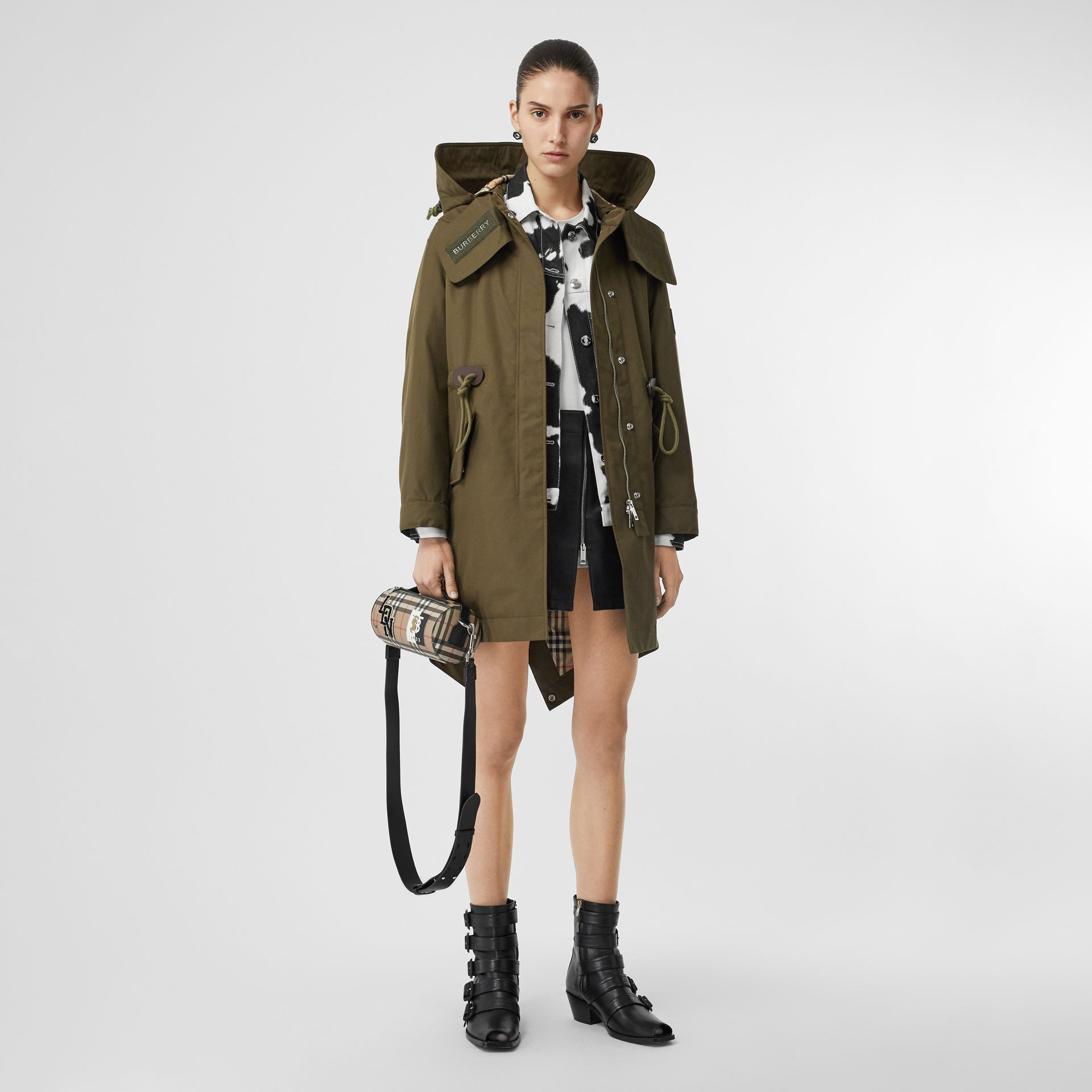 Detachable Hood Cotton Gabardine Parka in Dark Military Khaki - Women | Burberry - gallery image 0