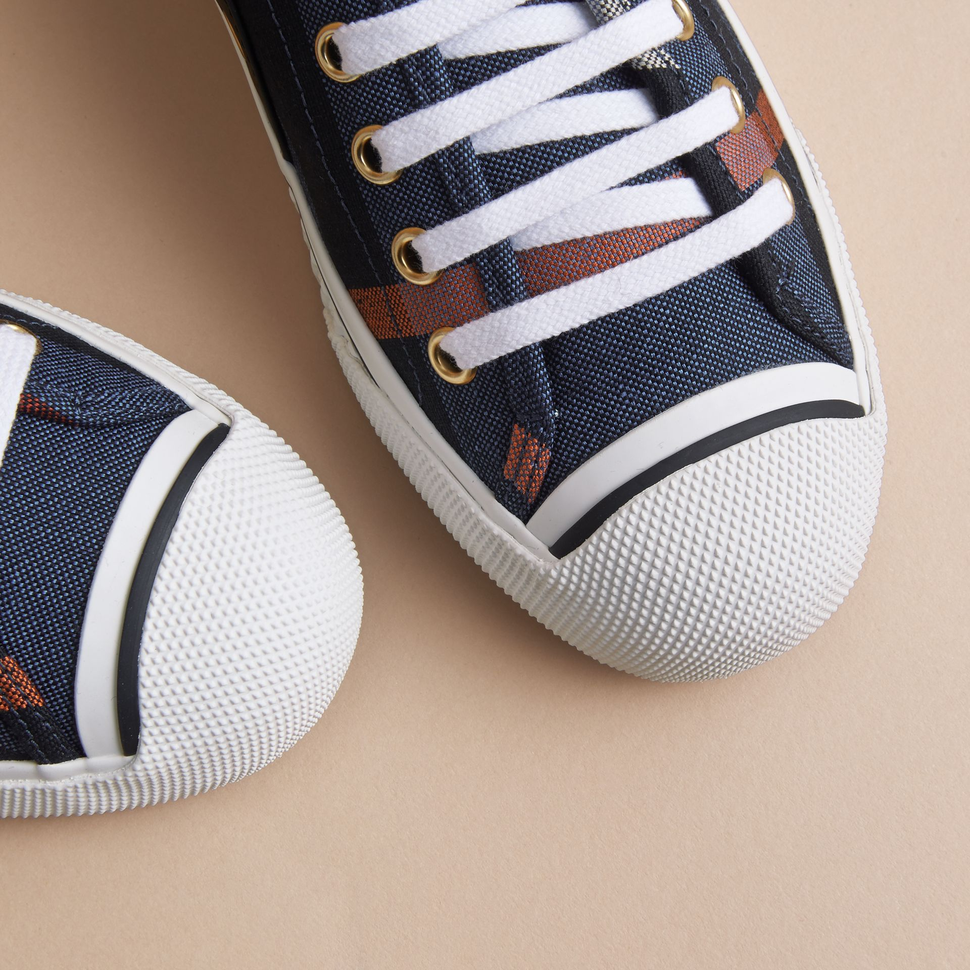 Check Linen Cotton Trainers in Ink Blue - Women | Burberry - gallery image 2