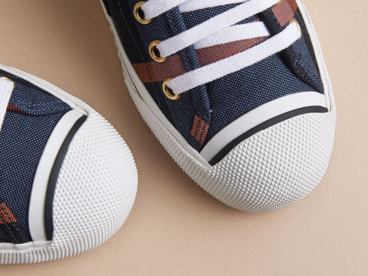 Check Linen Cotton Trainers in Ink Blue - Women | Burberry - cell image 1
