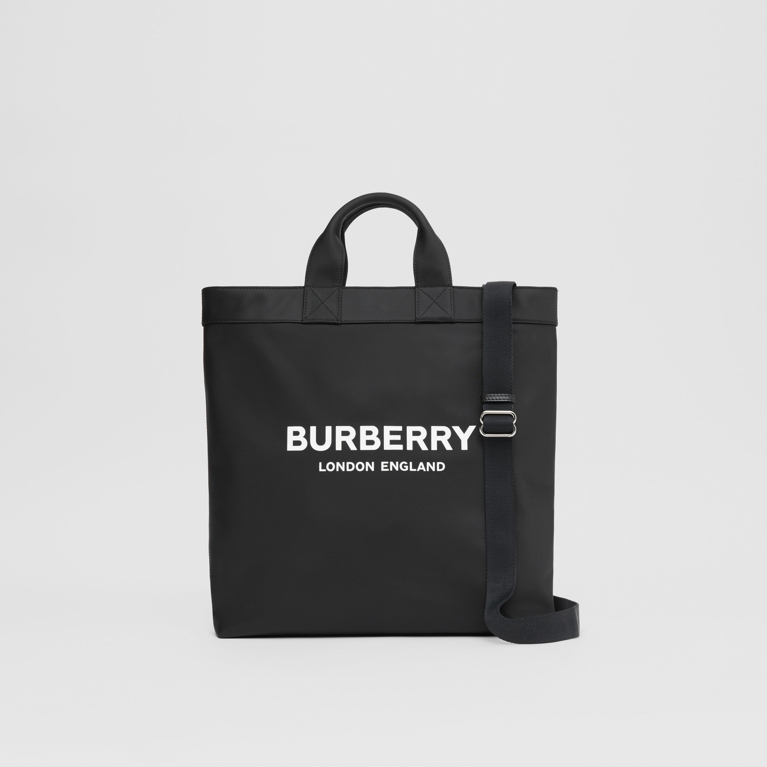 Logo Print ECONYL® Tote in Black - Men | Burberry United Kingdom - 1