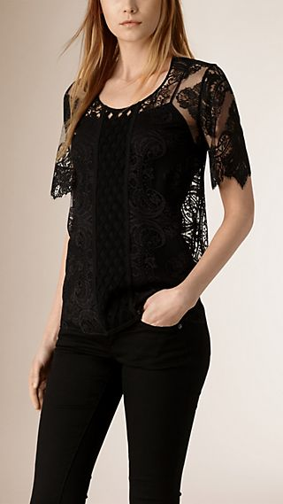French Lace Scallop-sleeve Top