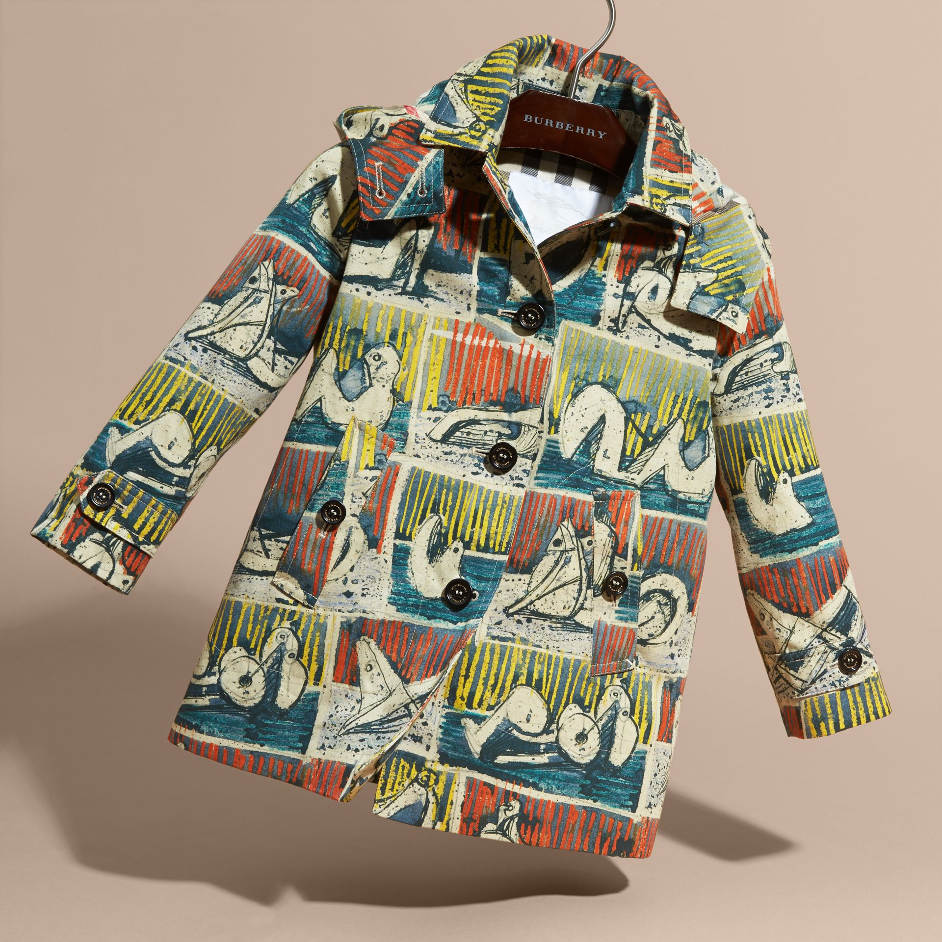 Reclining Figures Print Hooded Cotton Trench Coat in Stone Blue | Burberry - gallery image 3