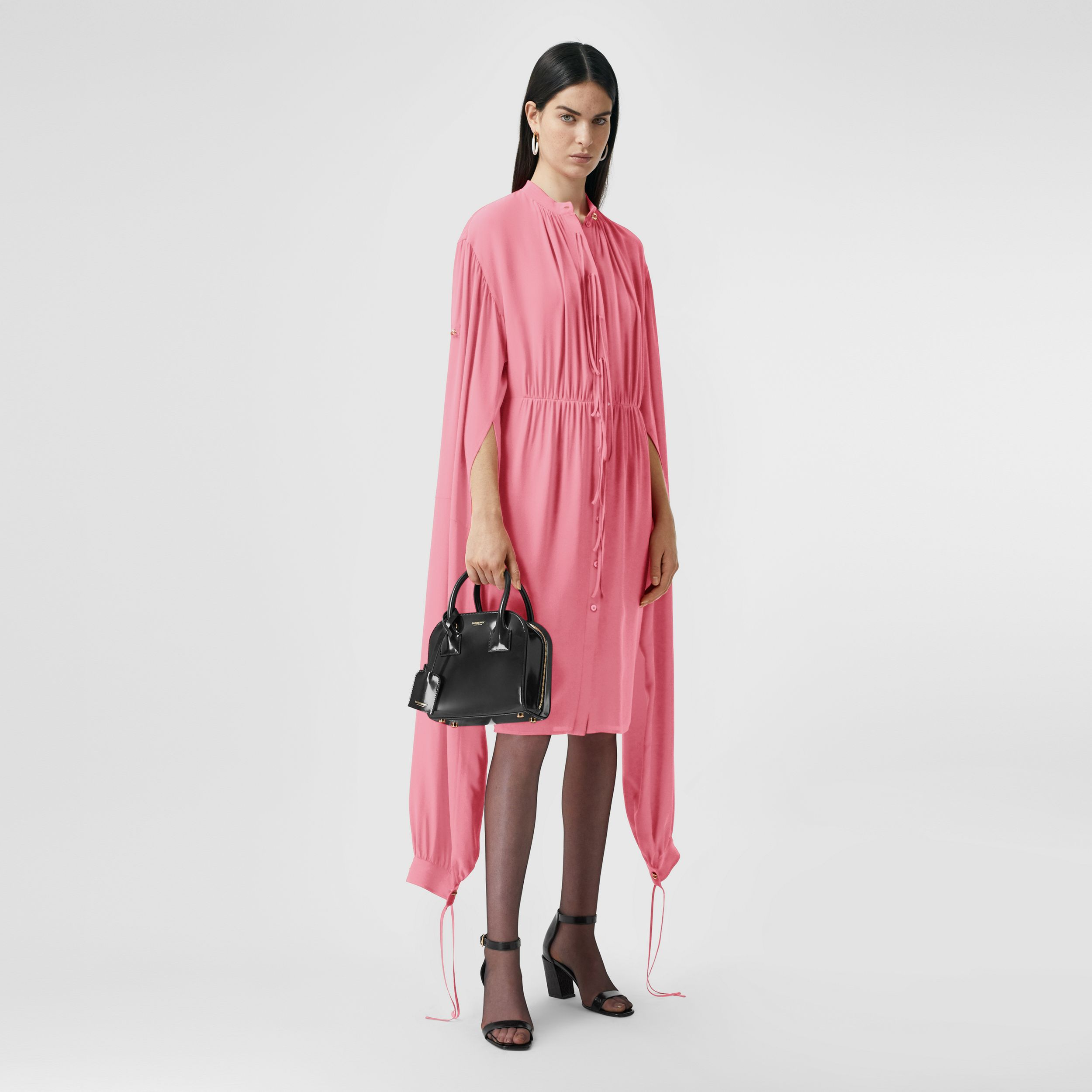 Loop-back Sleeve Silk Crepe De Chine Dress in Bubblegum Pink - Women | Burberry Australia - 1