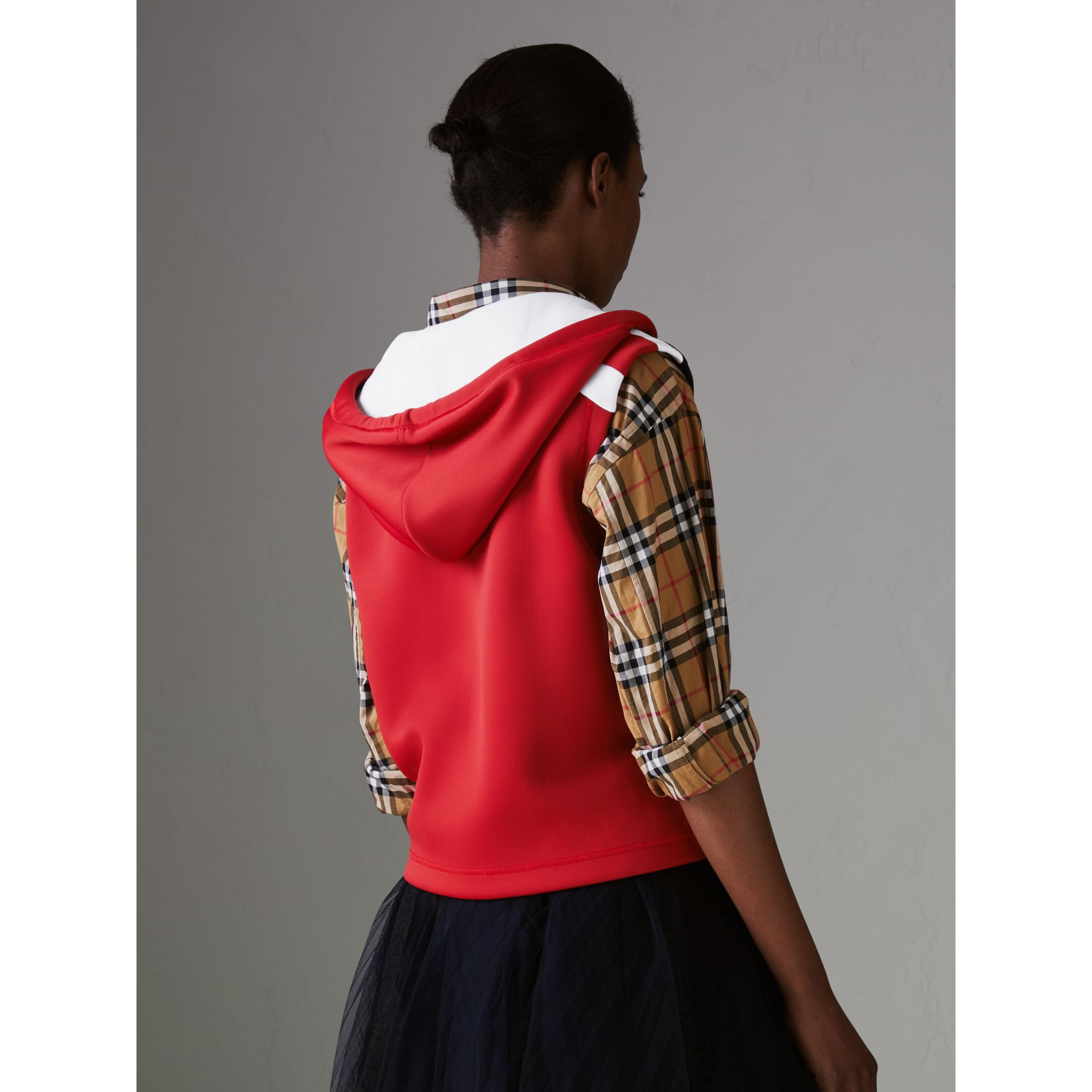 Stripe Detail Jersey Sleeveless Hoodie in Bright Poppy Red - Women | Burberry United Kingdom - gallery image 2