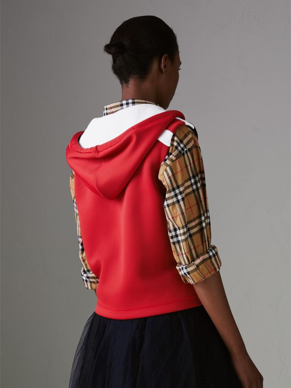 Stripe Detail Jersey Sleeveless Hoodie in Bright Poppy Red - Women | Burberry United Kingdom - cell image 2