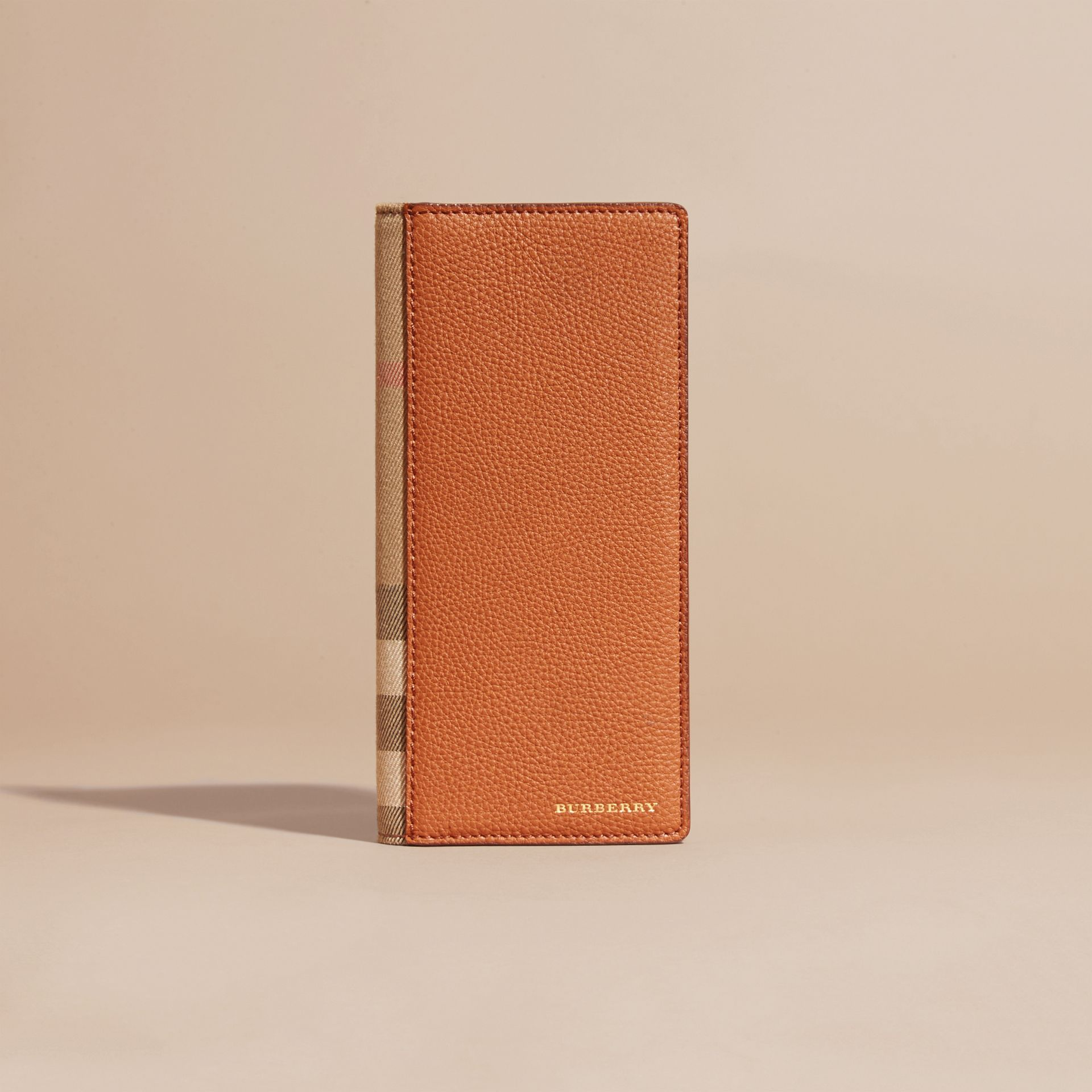 House Check and Grainy Leather Continental Wallet Russet - gallery image 2