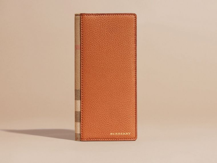 House Check and Grainy Leather Continental Wallet Russet - cell image 1