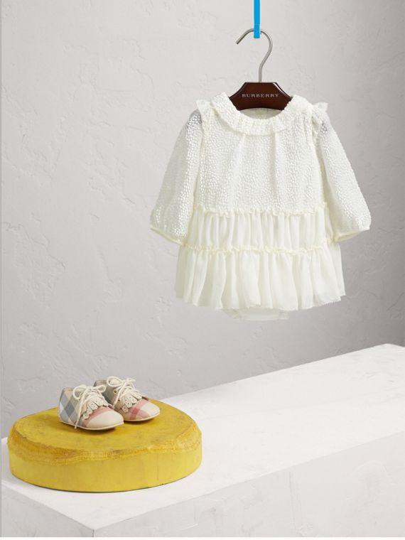 Devoré and Silk Chiffon Dress with Bloomers in White