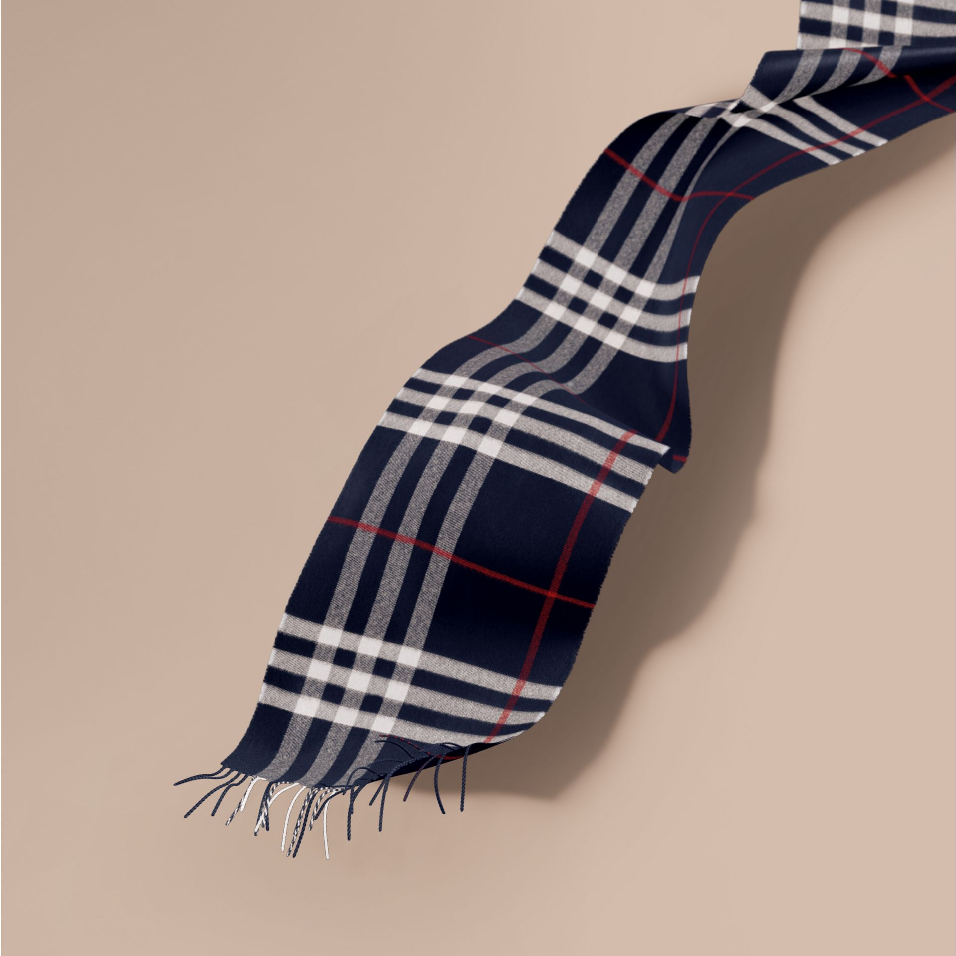 The Classic Cashmere Scarf in Check Navy - gallery image 1