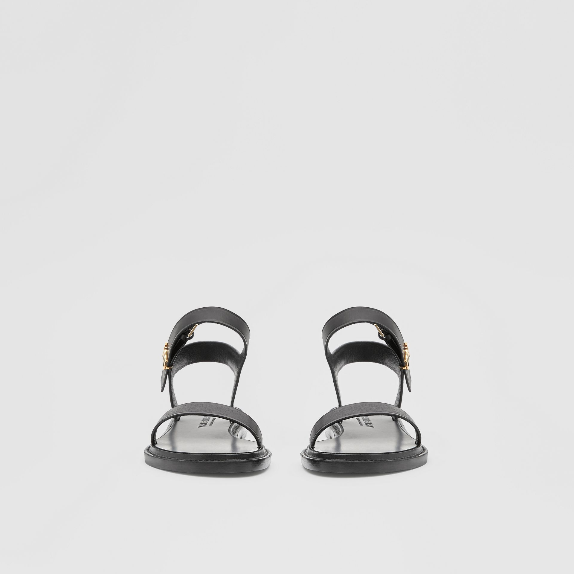Monogram Motif Leather Sandals in Black - Women | Burberry United Kingdom - gallery image 2