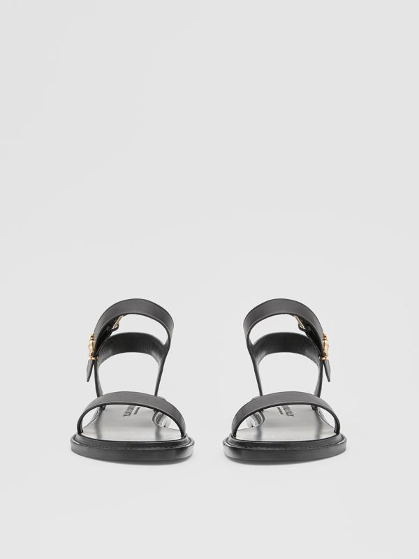 Monogram Motif Leather Sandals in Black - Women | Burberry United Kingdom - cell image 2