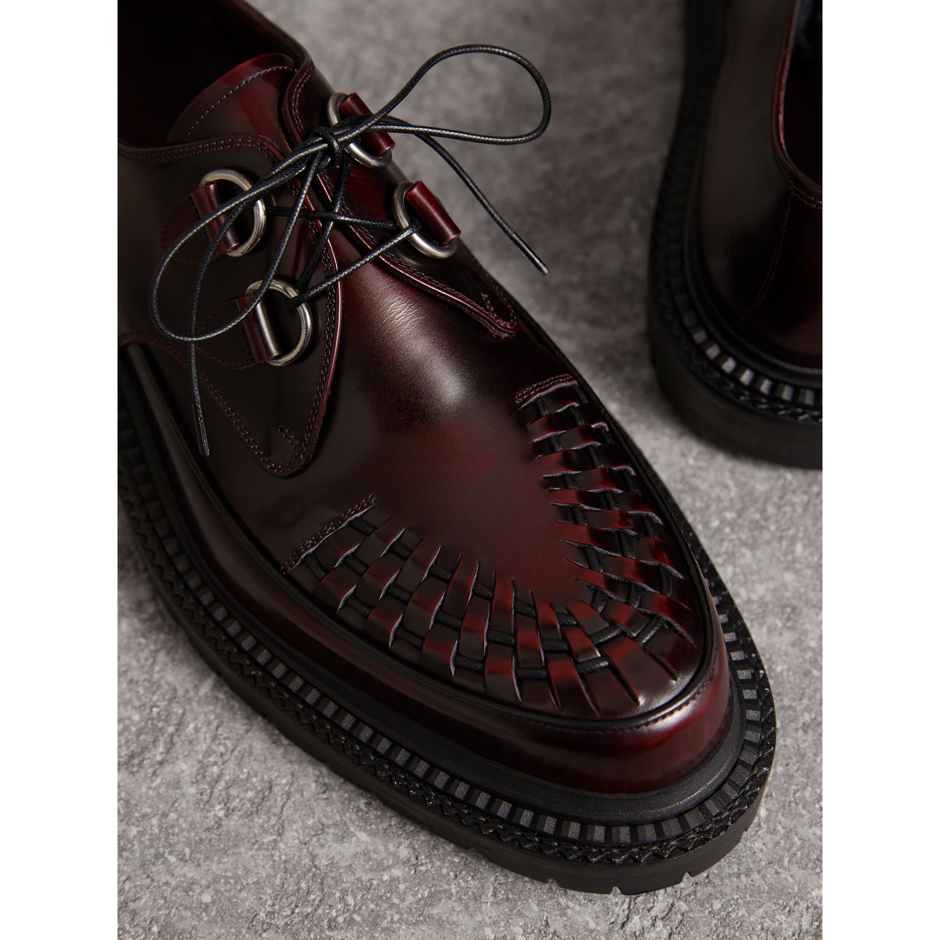 Woven-toe Leather Lace-up Shoes in Bordeaux - Men | Burberry - gallery image 1