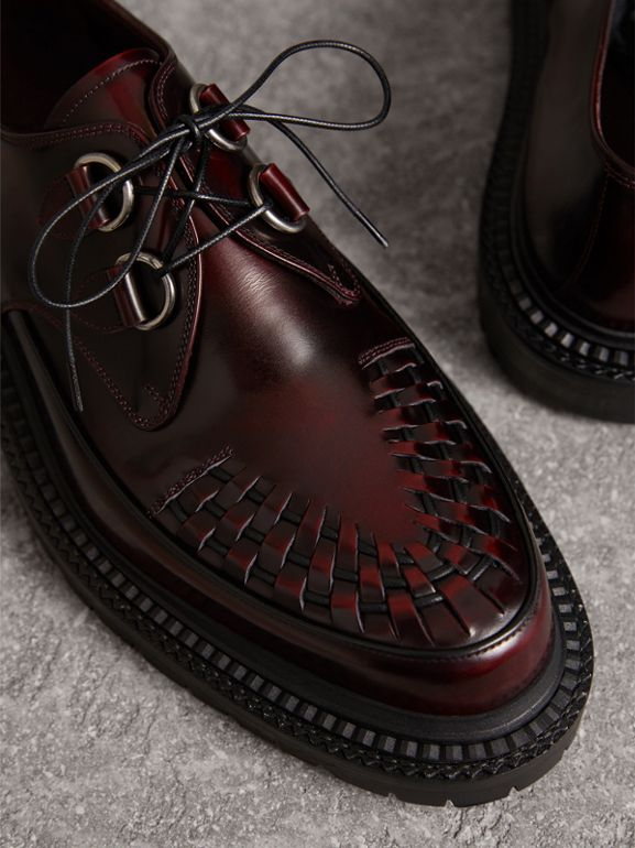 Woven-toe Leather Lace-up Shoes in Bordeaux - Men | Burberry - cell image 1
