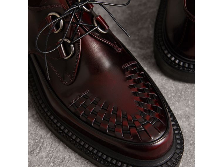 Woven-toe Leather Lace-up Shoes in Bordeaux - Men | Burberry Australia - cell image 1