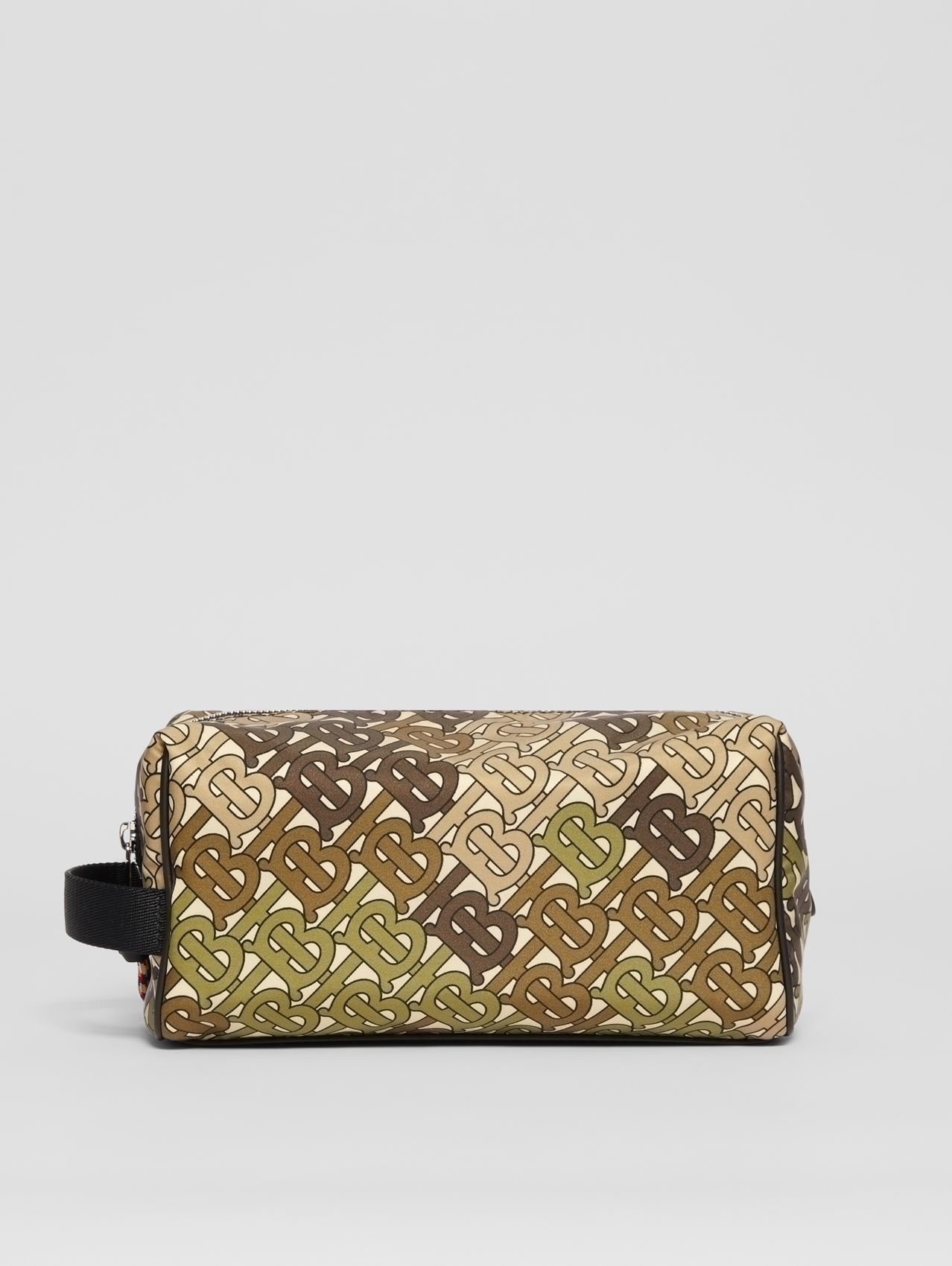 Monogram Print Nylon Travel Pouch in Khaki Green