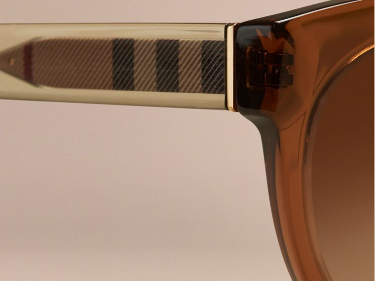 Taupe brown Check Detail Oval Sunglasses Taupe Brown - cell image 1